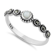 Load image into Gallery viewer, Sterling Silver Small Round Mother of Pearl Marcasite Ring