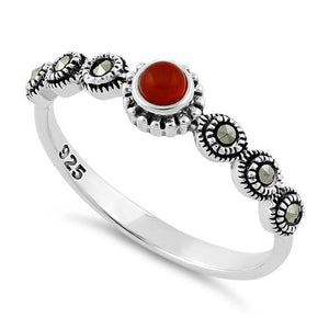 Sterling Silver Small Round Red Marcasite Ring