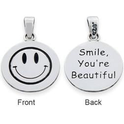 "Sterling Silver ""Smile You're Beautiful"" Pendant"