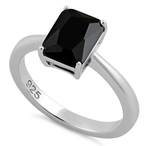 Sterling Silver Solitaire Emerald Cut Black CZ Ring