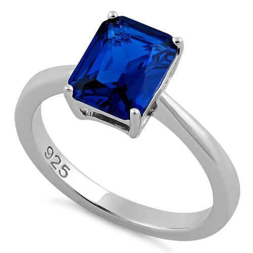 Sterling Silver Solitaire Emerald Cut Blue Spinel CZ Ring