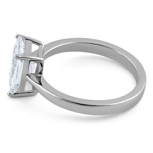 Sterling Silver Solitaire Emerald Cut Clear CZ Ring