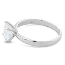 Load image into Gallery viewer, Sterling Silver Solitaire Princess Cut CZ Ring
