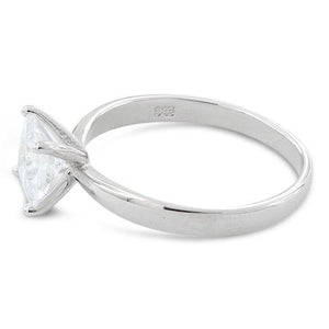 Sterling Silver Solitaire Princess Cut CZ Ring