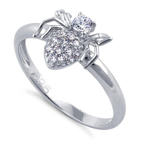 Sterling Silver Spider Clear CZ Ring
