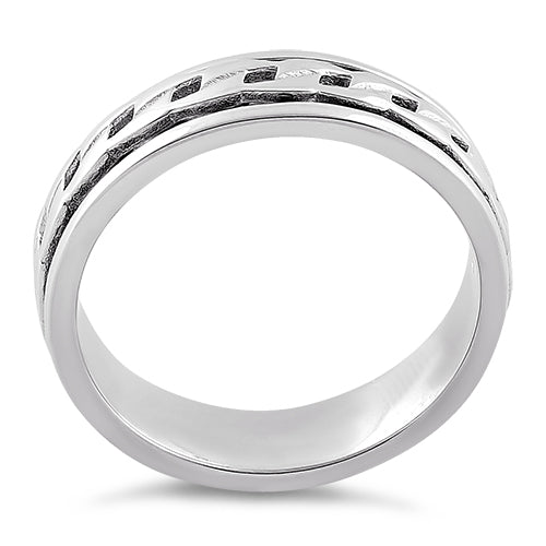 Sterling Silver Spinner Curb Chain on Band Ring