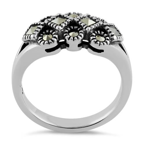 Sterling Silver Square and Round Marcasite Ring
