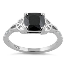 Load image into Gallery viewer, Sterling Silver Square Black Celtic CZ Ring