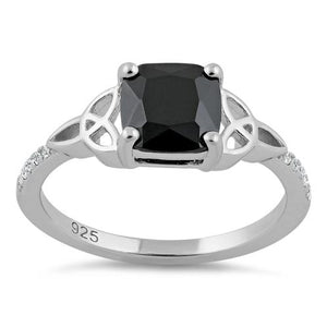 Sterling Silver Square Black Celtic CZ Ring