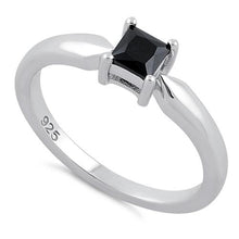 Load image into Gallery viewer, Sterling Silver Square Black CZ Ring