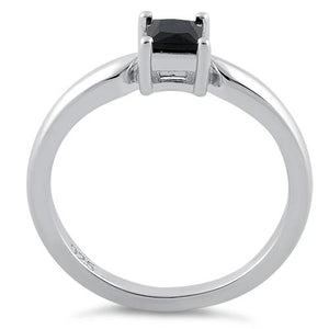 Sterling Silver Square Black CZ Ring