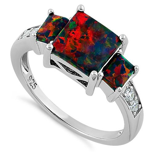 Sterling Silver Square Black Lab Opal CZ Ring