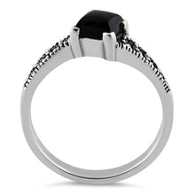 Load image into Gallery viewer, Sterling Silver Square Black Onyx Marcasite Ring