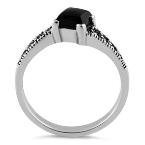 Sterling Silver Square Black Onyx Marcasite Ring