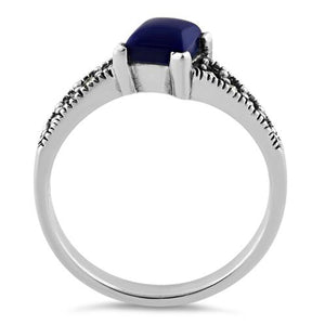 Sterling Silver Square Blue Lapis Marcasite Ring