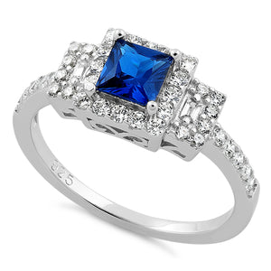 Sterling Silver Square Blue Sapphire CZ Ring