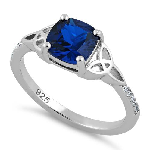 Sterling Silver Square Blue Spinel Celtic CZ Ring