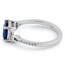 Load image into Gallery viewer, Sterling Silver Square Blue Spinel Celtic CZ Ring