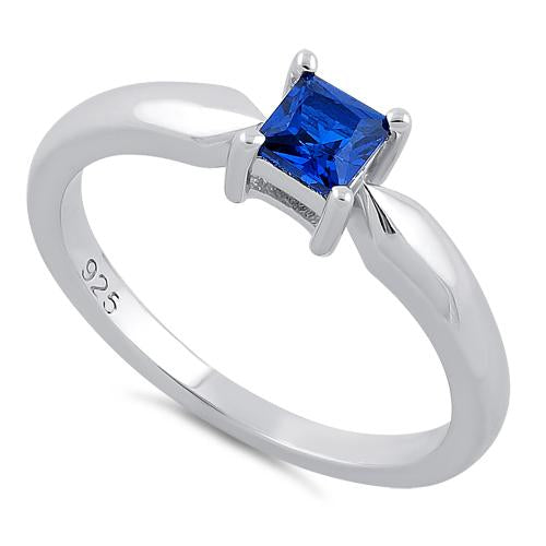 Sterling Silver Square Blue Spinel CZ Ring