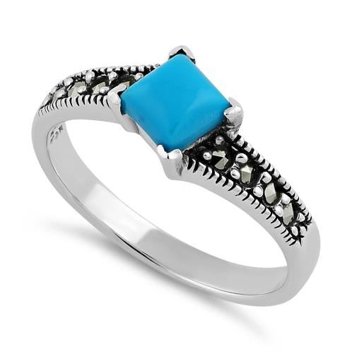 Sterling Silver Square Simulated Turquoise Marcasite Ring