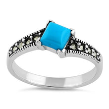 Load image into Gallery viewer, Sterling Silver Square Simulated Turquoise Marcasite Ring