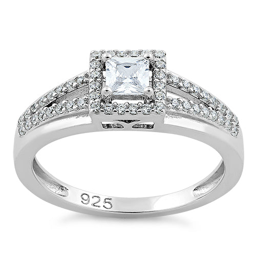 Sterling Silver Square Clear CZ Ring