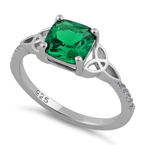 Sterling Silver Square Emerald Celtic CZ Ring