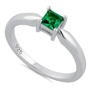 Sterling Silver Square Emerald CZ Ring