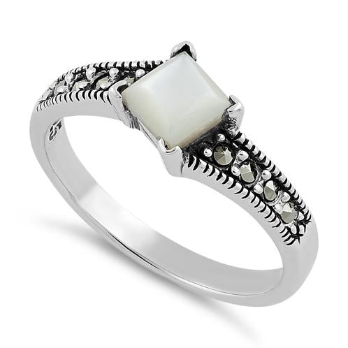 Sterling Silver Square Mother of Pearl Marcasite Ring