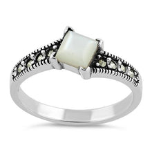 Load image into Gallery viewer, Sterling Silver Square Mother of Pearl Marcasite Ring