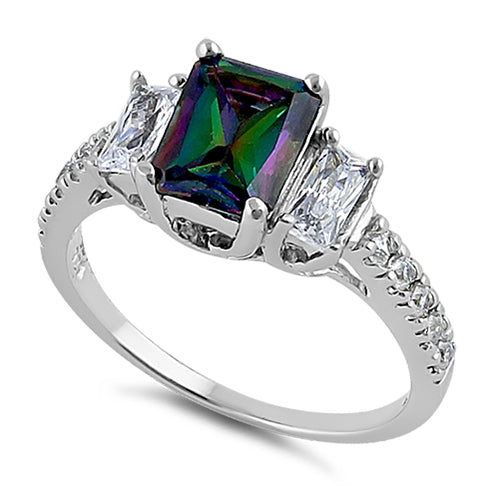 Sterling Silver Rectangular Rainbow Topaz CZ Ring