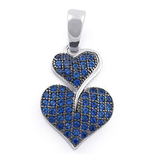 Load image into Gallery viewer, Sterling Silver Stack Hearts Blue Sapphire CZ Pendant
