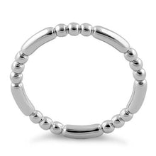Load image into Gallery viewer, Rhodium Plated Stackable Bead and Bar Ring