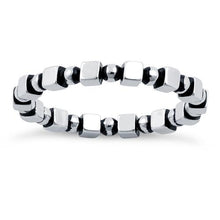 Load image into Gallery viewer, Sterling Silver Stackable Bead and Cube Eternity Ring
