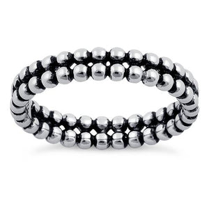 Sterling Silver Stackable Double Bead Eternity Ring