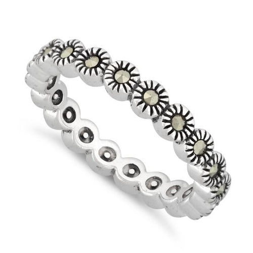 Sterling Silver Stackable Eternity Marcasite Ring