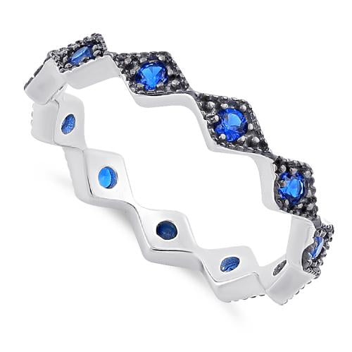 Sterling Silver Stackable Ridged Eternity Blue Spinel CZ Ring