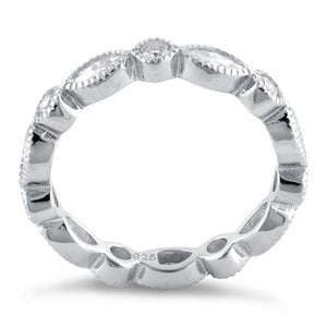 Sterling Silver Round & Marquise Clear CZ Eternity Ring