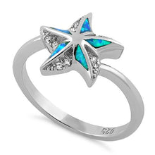 Load image into Gallery viewer, Sterling Silver Star Lab Opal CZ Ring