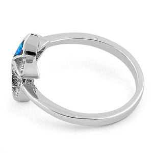 Sterling Silver Star Lab Opal CZ Ring