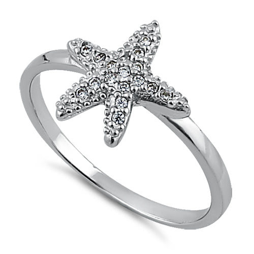 Sterling Silver Starfish CZ Ring