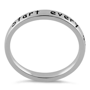 "Sterling Silver ""Start every day with a smile"" Ring"