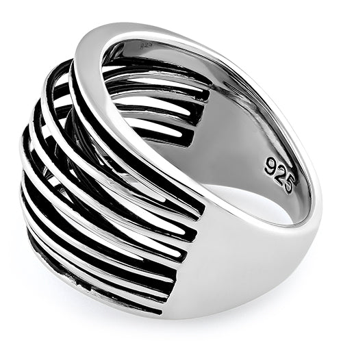 Sterling Silver String Pattern Ring