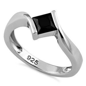 Sterling Silver Stuck in Between Square Black CZ Ring