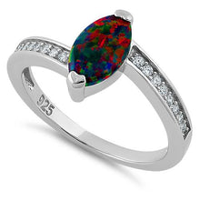 Load image into Gallery viewer, Sterling Silver Stylish Black Lab Opal Marquise Cut & Clear CZ Ring