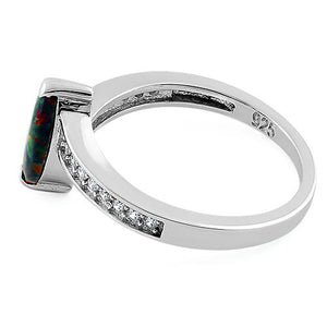 Sterling Silver Stylish Black Lab Opal Marquise Cut & Clear CZ Ring