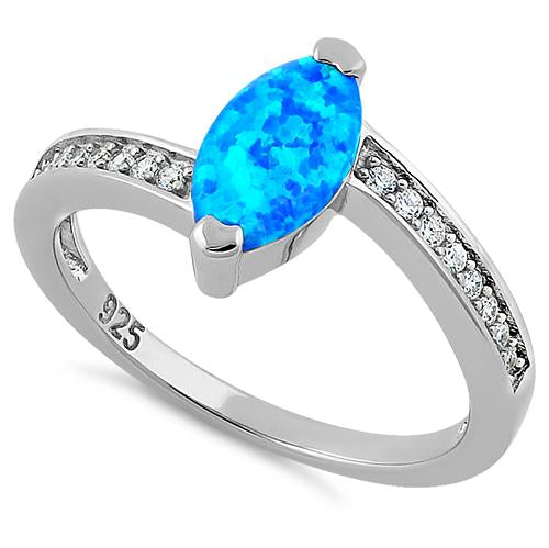 Sterling Silver Stylish Blue Lab Opal Marquise Cut & Clear CZ Ring