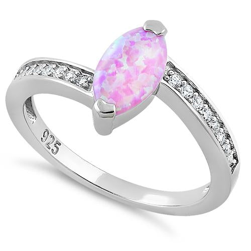 Sterling Silver Stylish Pink Lab Opal Marquise Cut & Clear CZ Ring