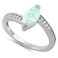 Load image into Gallery viewer, Sterling Silver Stylish White Lab Opal Marquise Cut & Clear CZ Ring