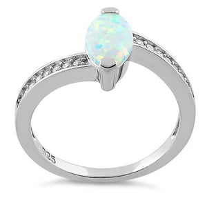 Sterling Silver Stylish White Lab Opal Marquise Cut & Clear CZ Ring